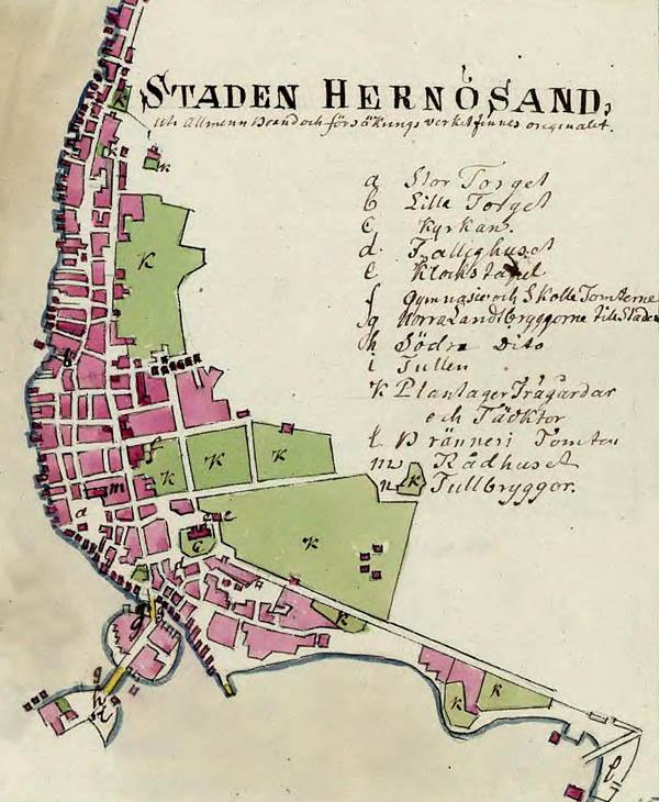 karta härnösand Karta över Härnösand 1800 karta härnösand